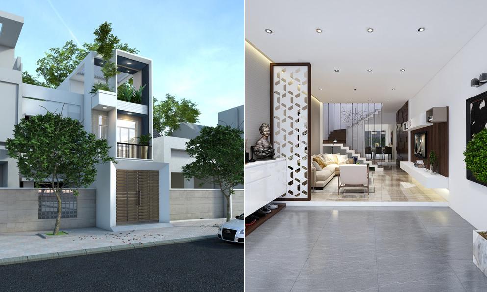 Thiết kế nhà phố 3 tầng diện tích 5x20m đẹp như mơ