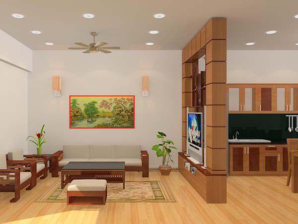 Thiết kế phòng khách liên thông nhà bếp đẹp và tiện lợi