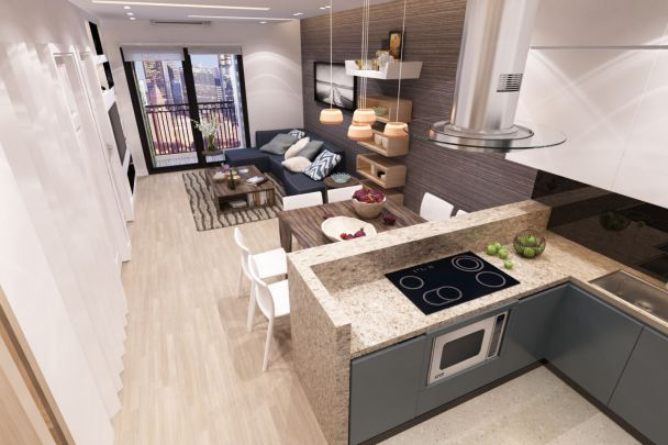 Thiết kế phòng khách liền bếp nhà ống